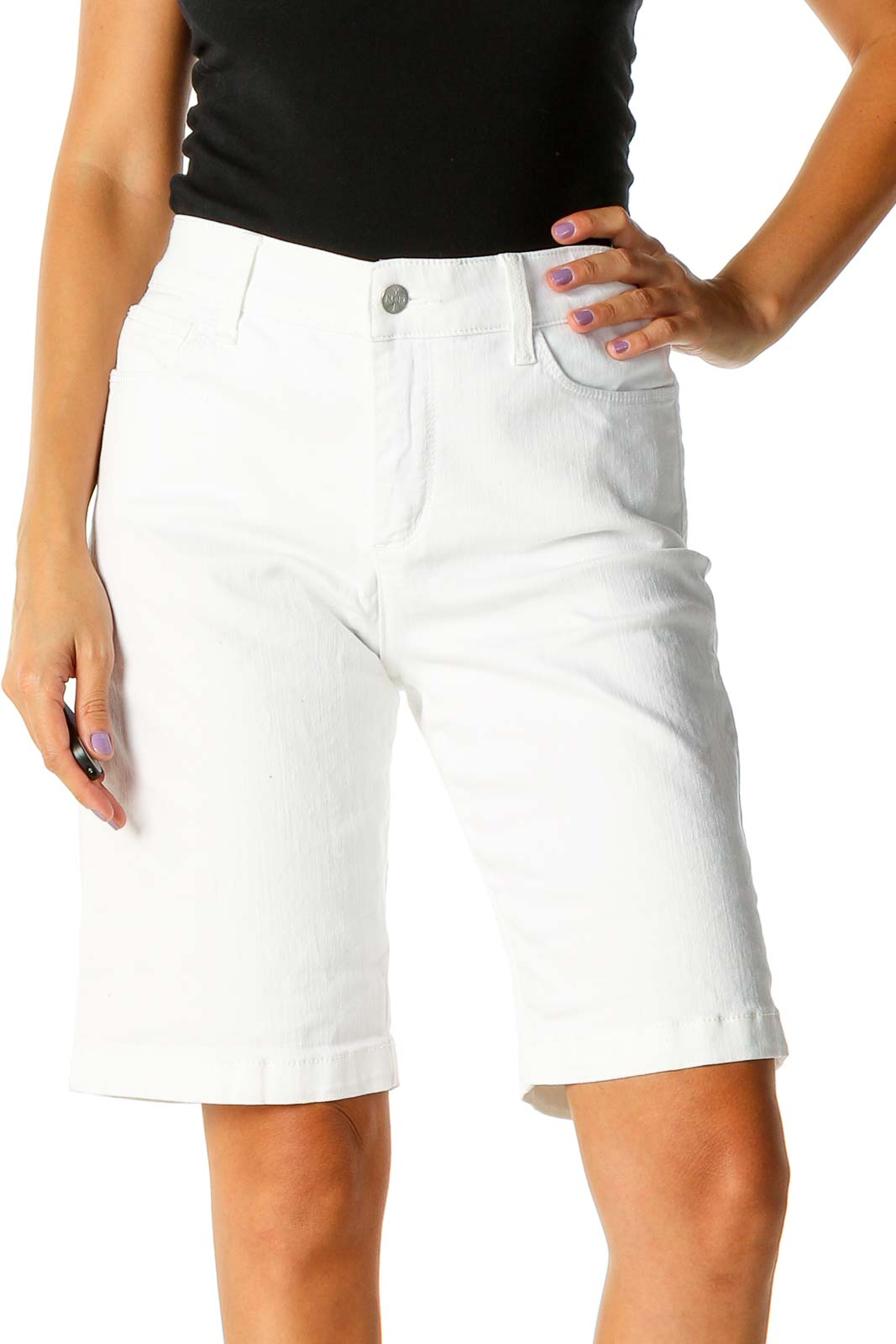 White All Day Wear Shorts Front