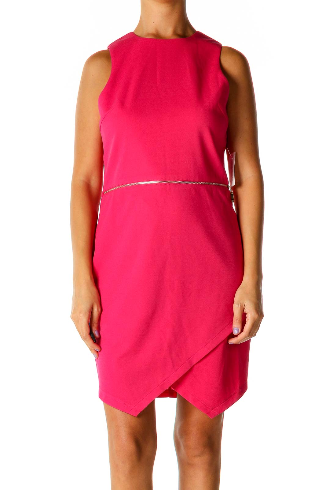 Pink Solid Casual Shift Dress Front