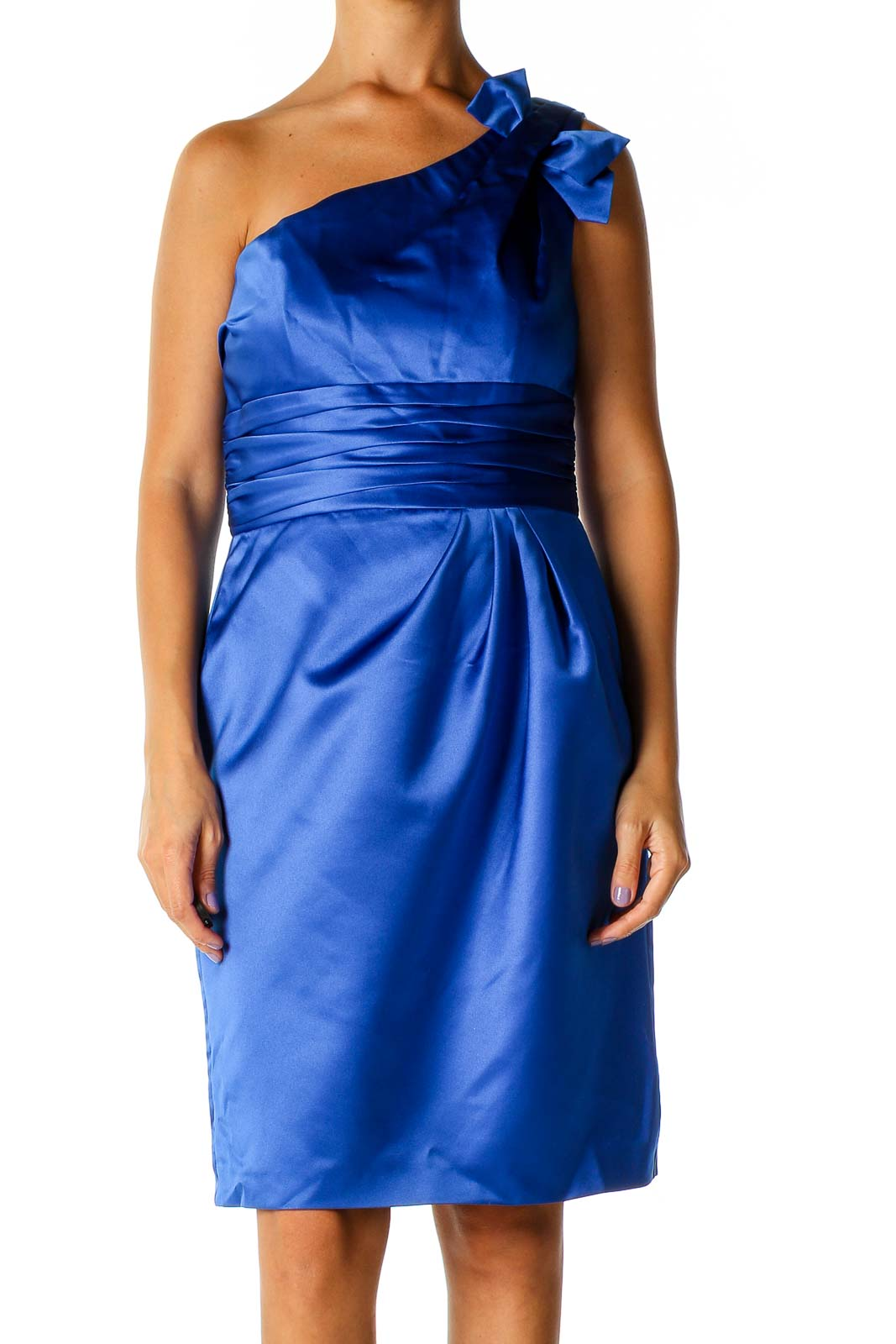 Blue Solid Chic Fit & Flare Dress Front