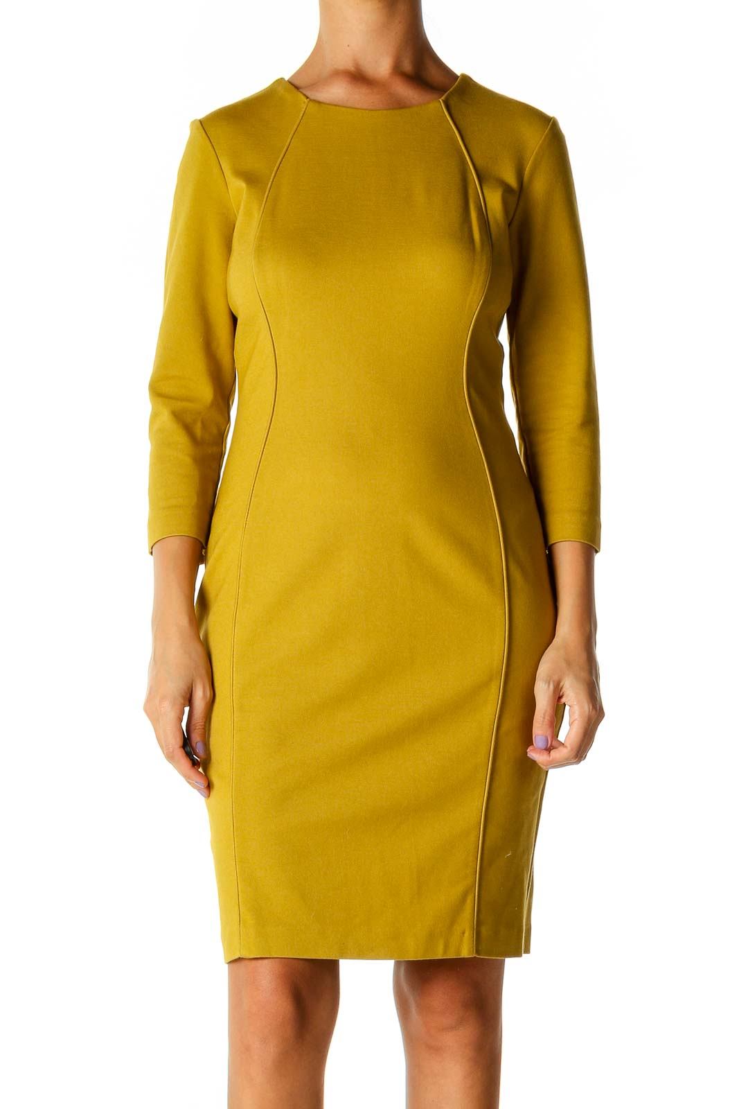 Yellow Solid Casual Sheath Dress Front