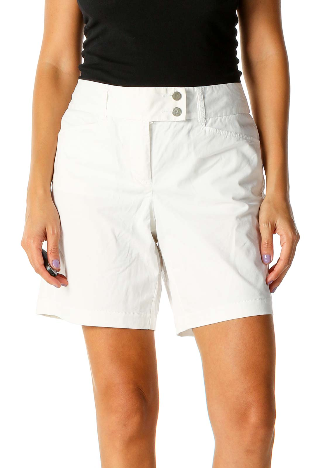 White Solid Classic Shorts Front