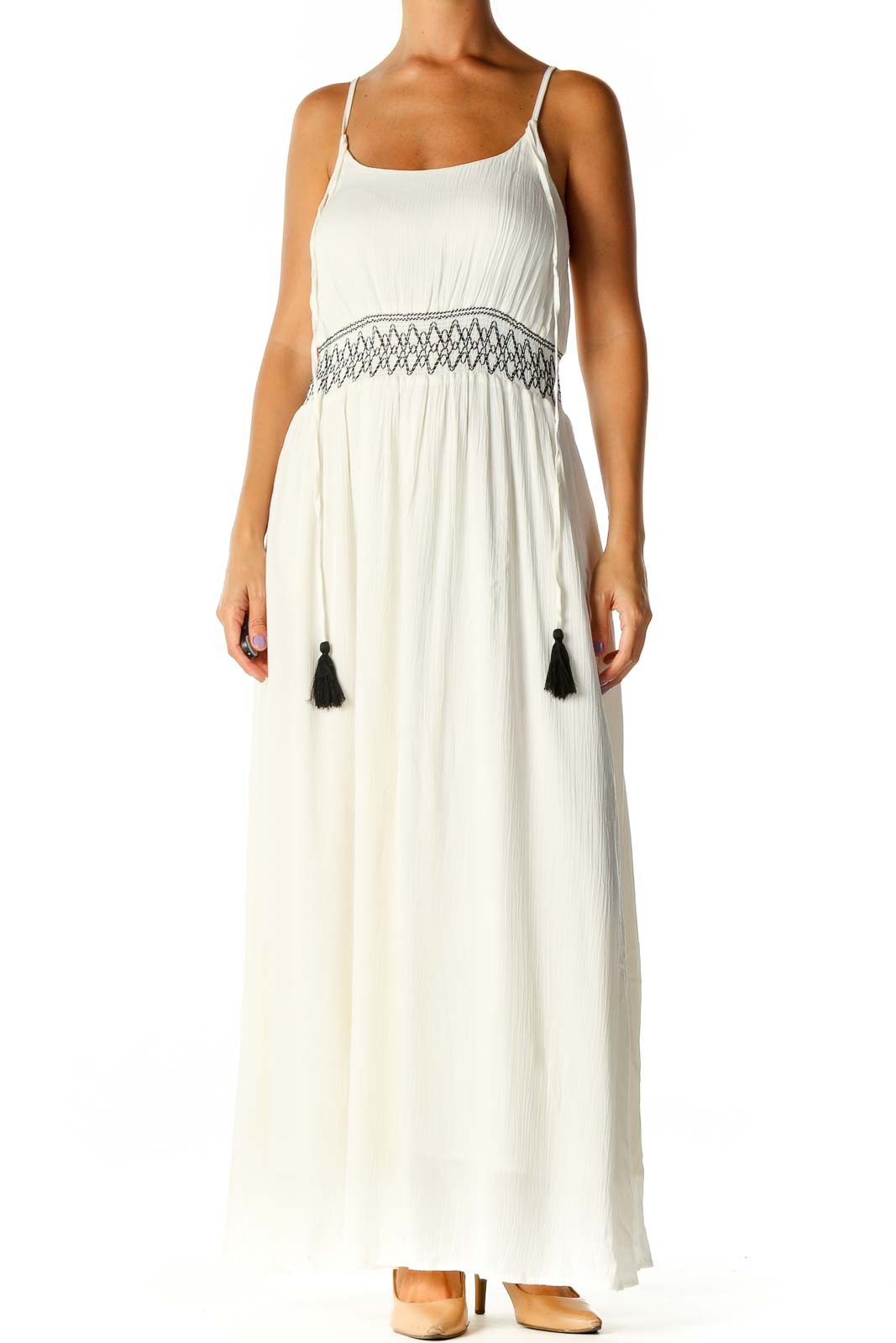 White Solid Bohemian A-Line Dress Front