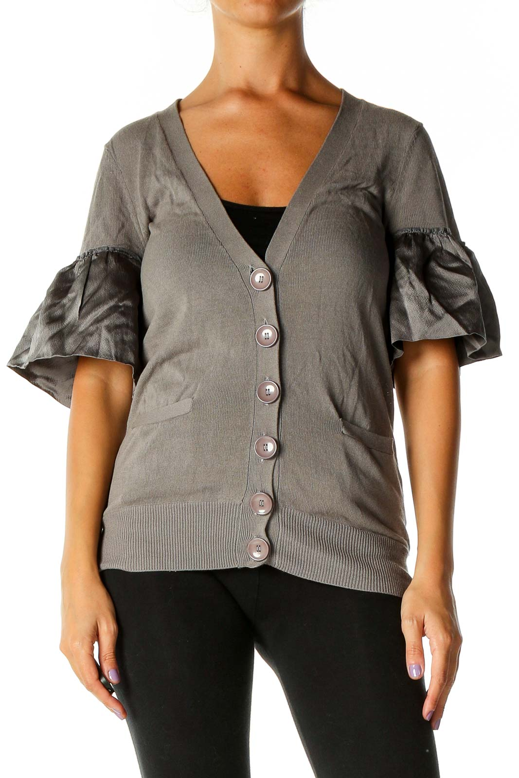 Gray Solid Casual Blouse Front