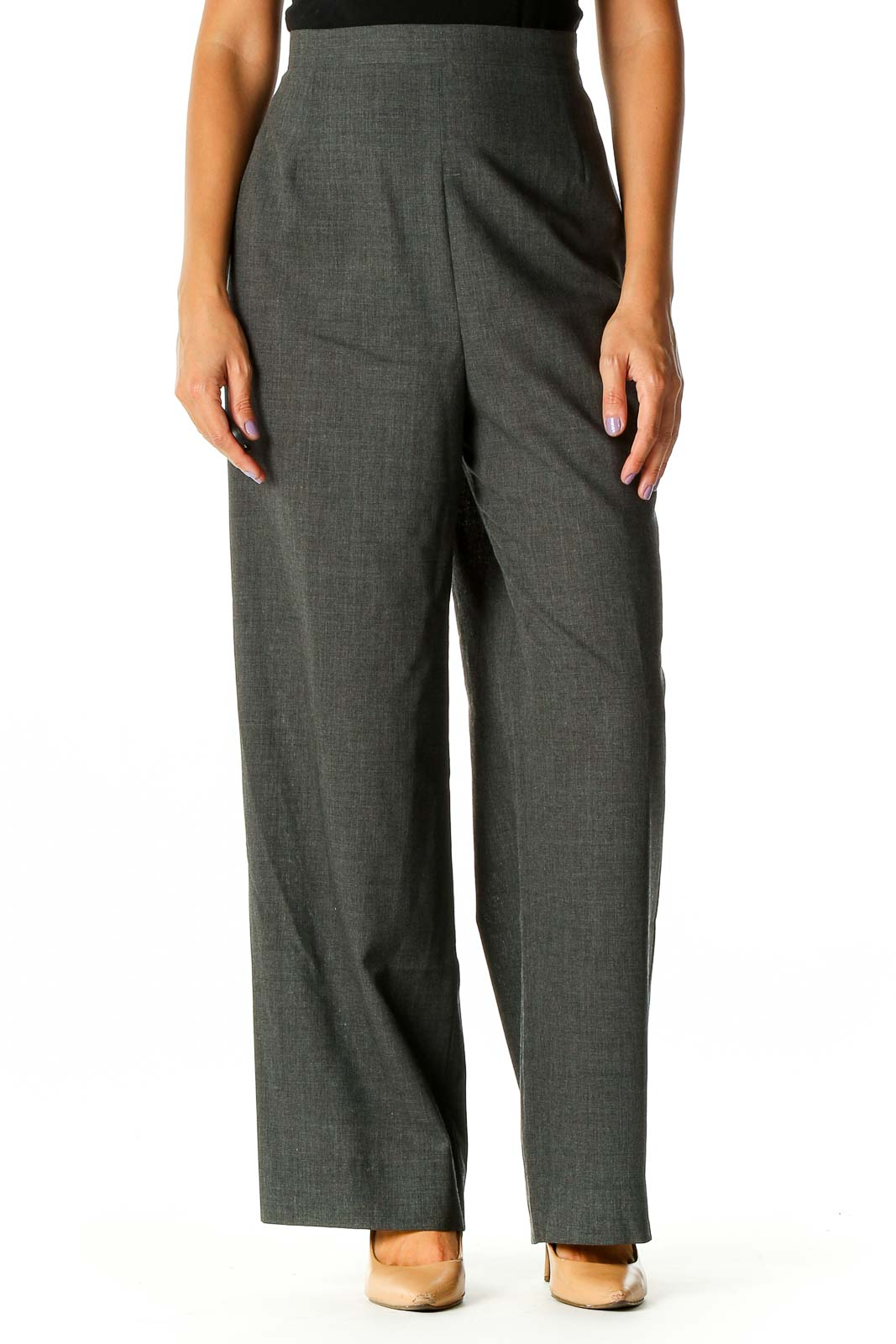 Gray Classic Trousers Front