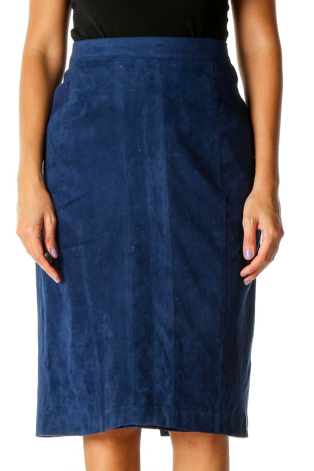 Blue Retro A-Line Skirt Front