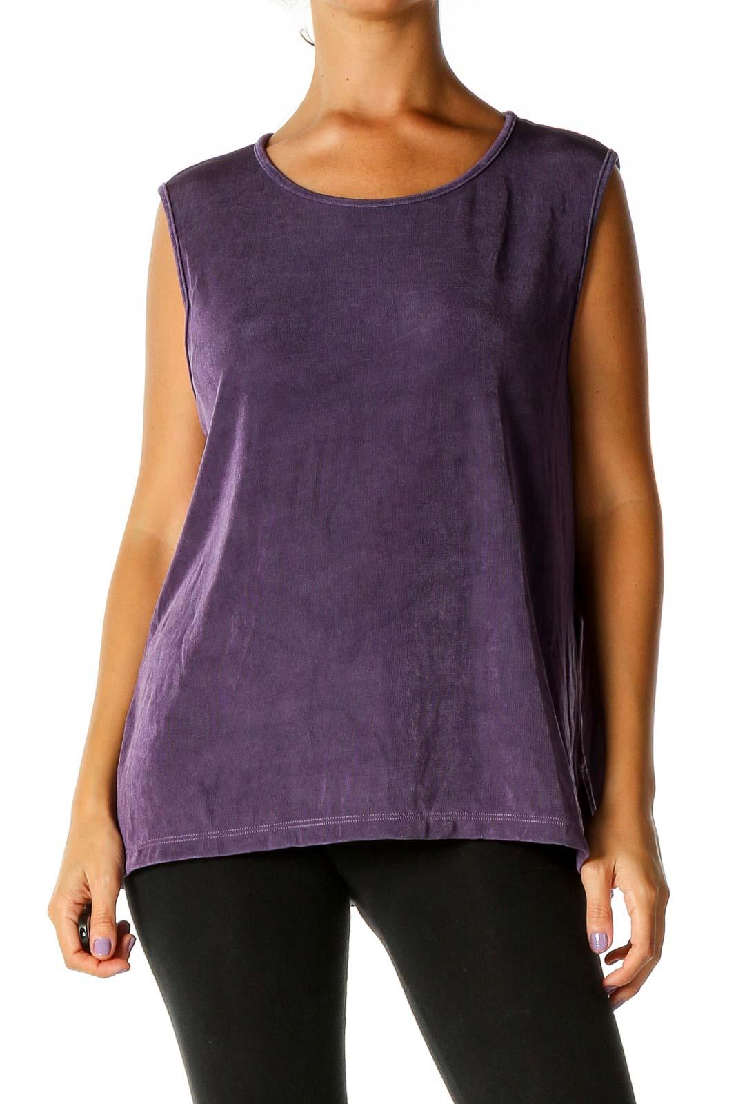 Purple Solid Retro Blouse Front