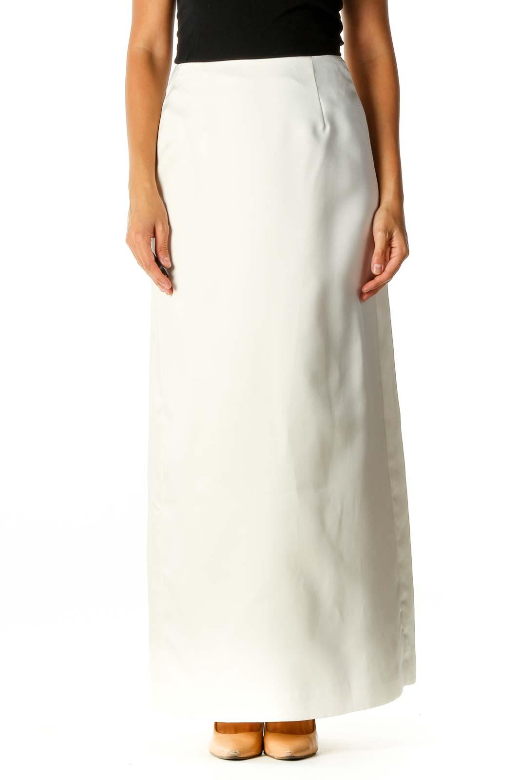 White Semiformal Straight Skirt Front