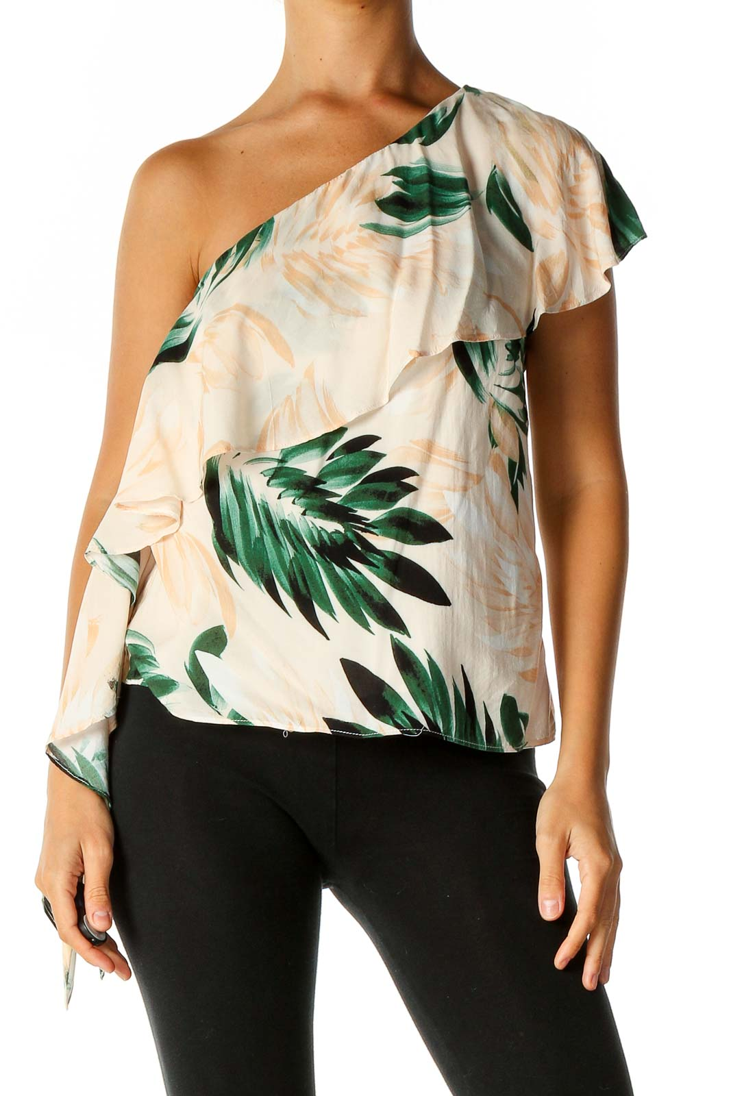 Beige Floral Print Holiday Blouse Front