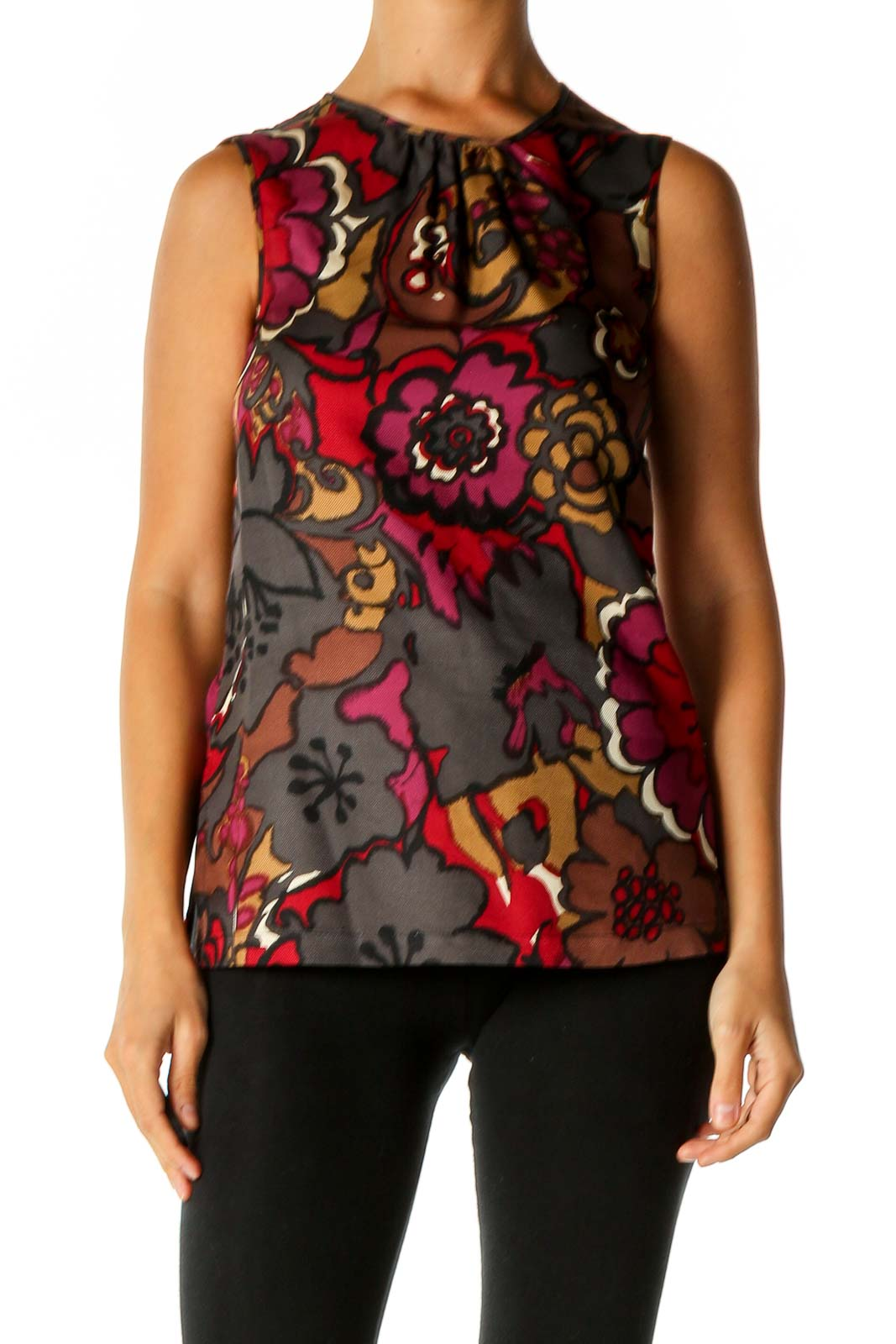 Brown Graphic Print Chic Blouse Front