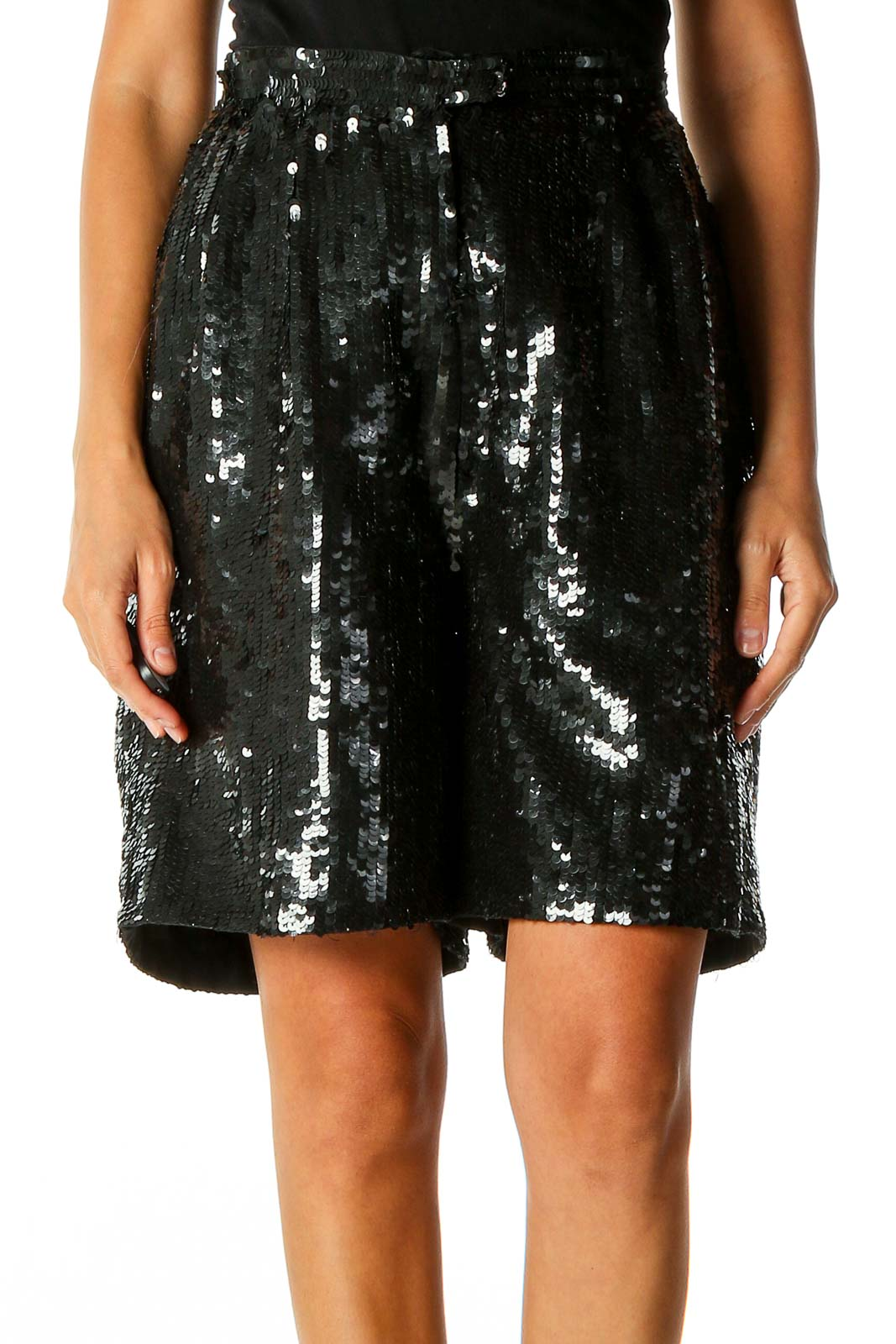 Black Sequin Party Straight Skirt Front
