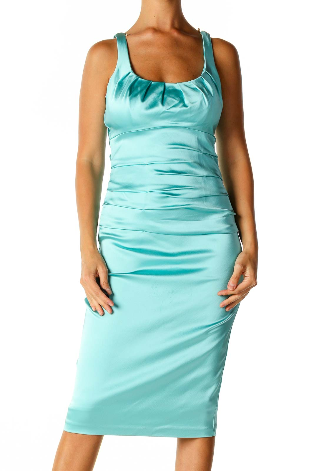 Blue Solid Retro Sheath Dress Front