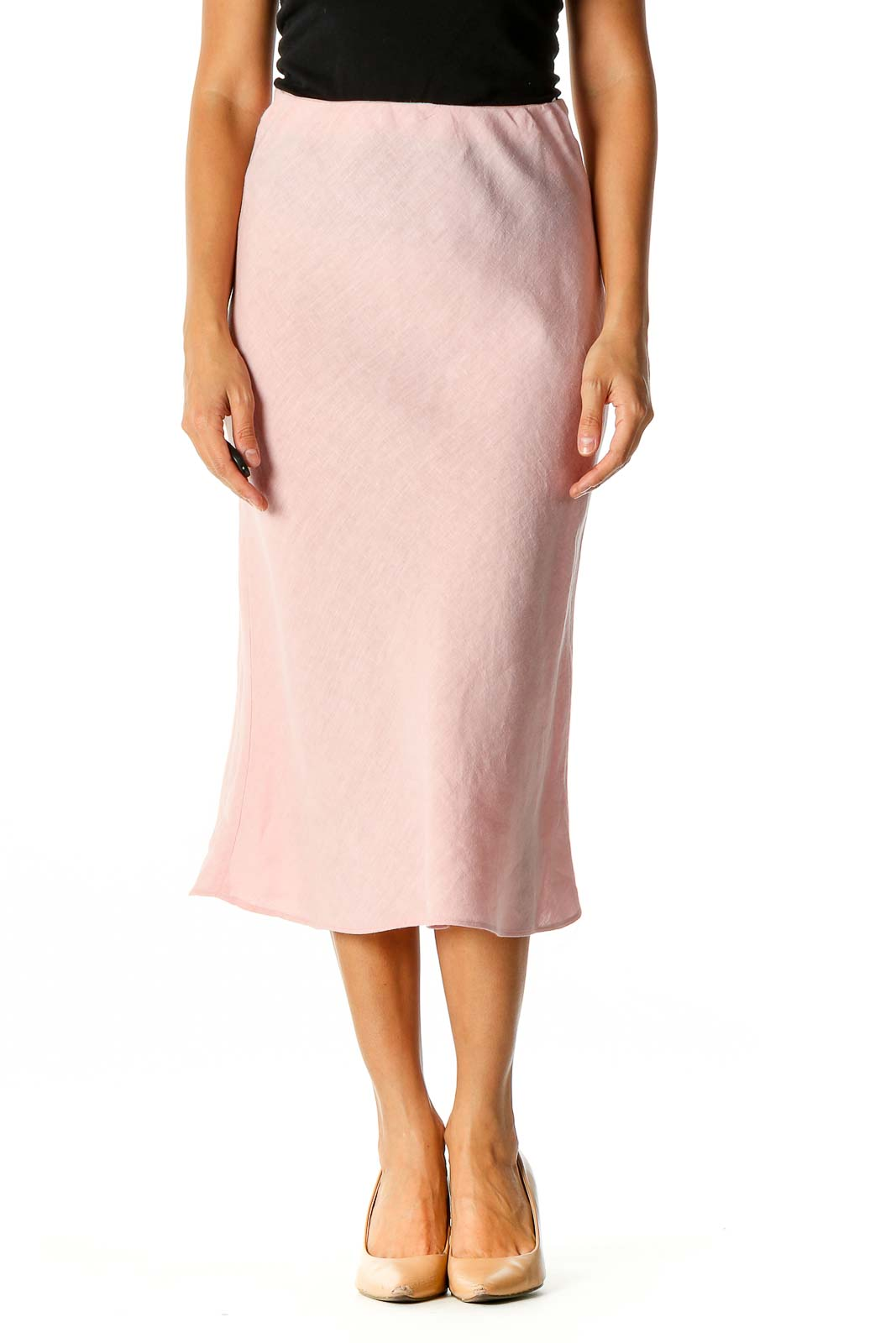 Pink Textured Classic Mermaid Skirt Front