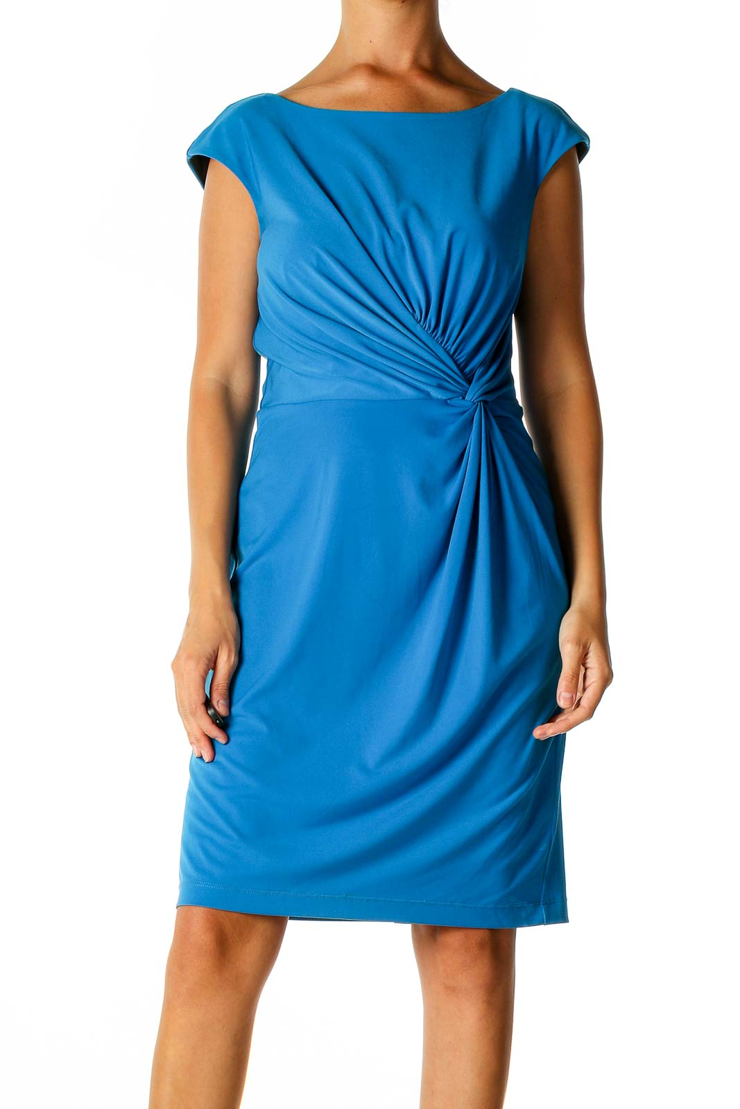Blue Solid Classic Sheath Dress Front