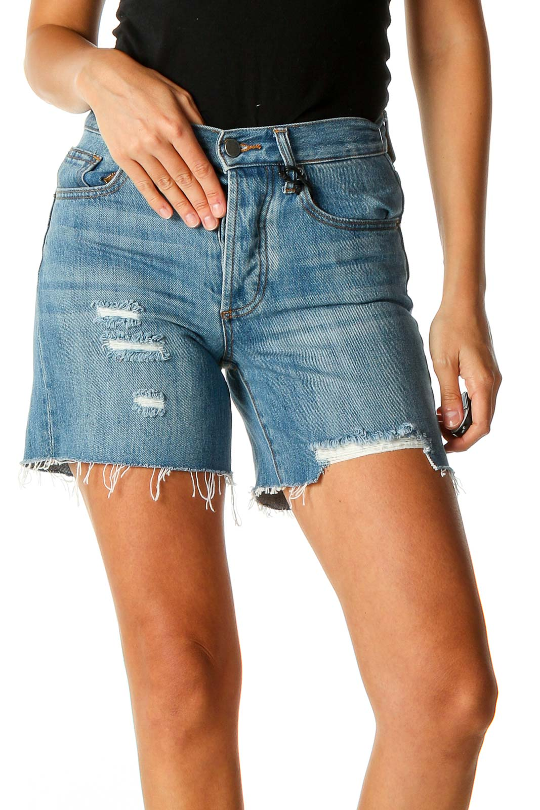 Blue Casual Shorts Front