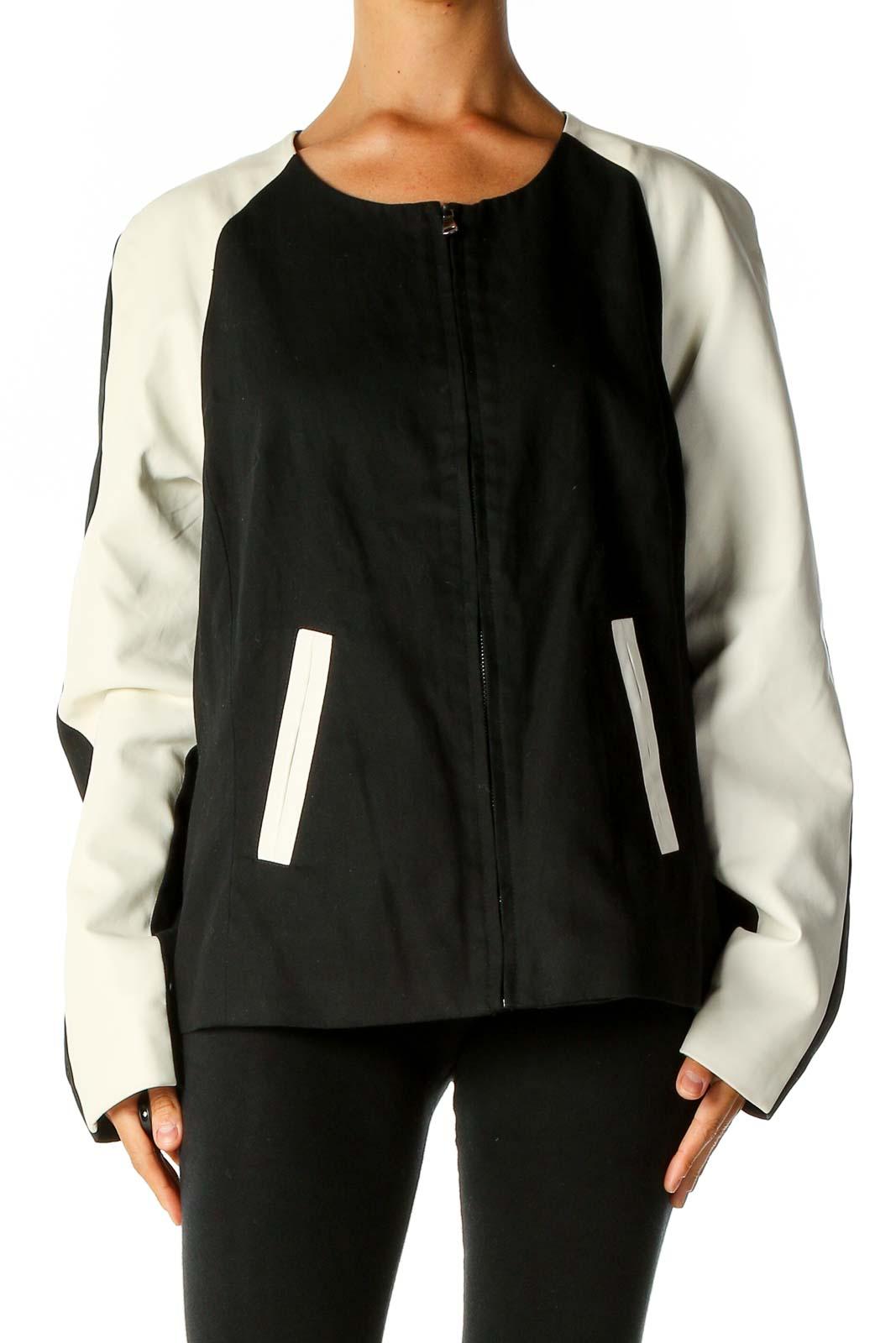 Black Colorblock Jacket Front