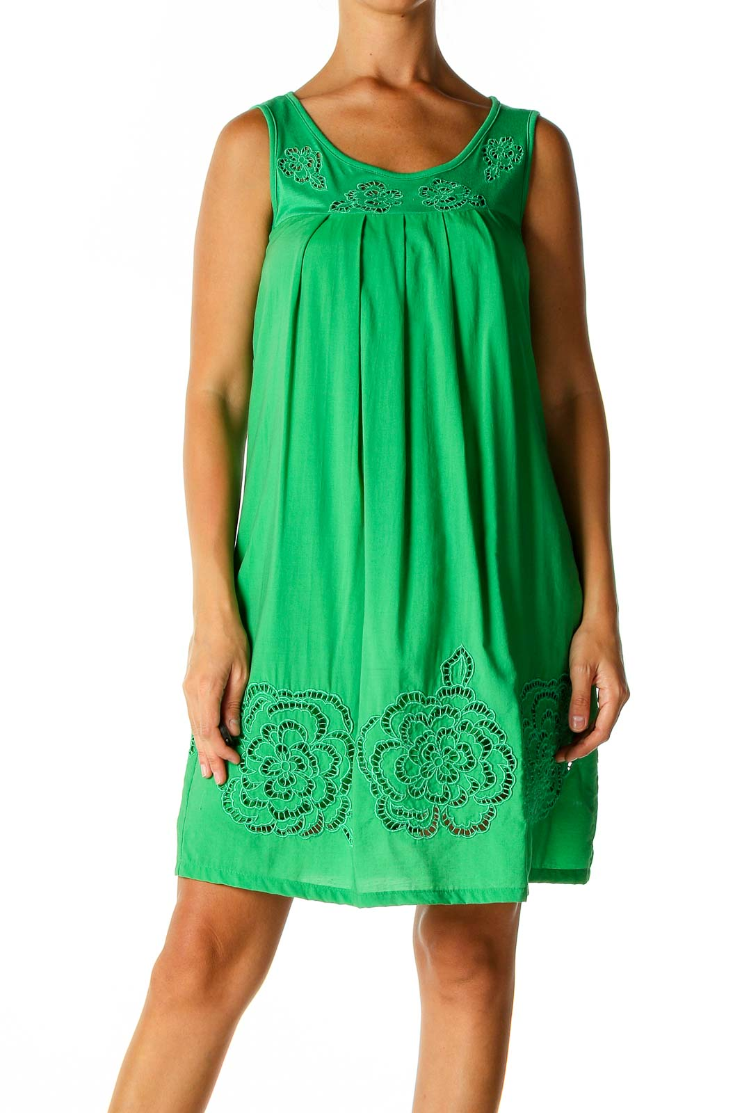 Green Solid Holiday A-Line Dress Front