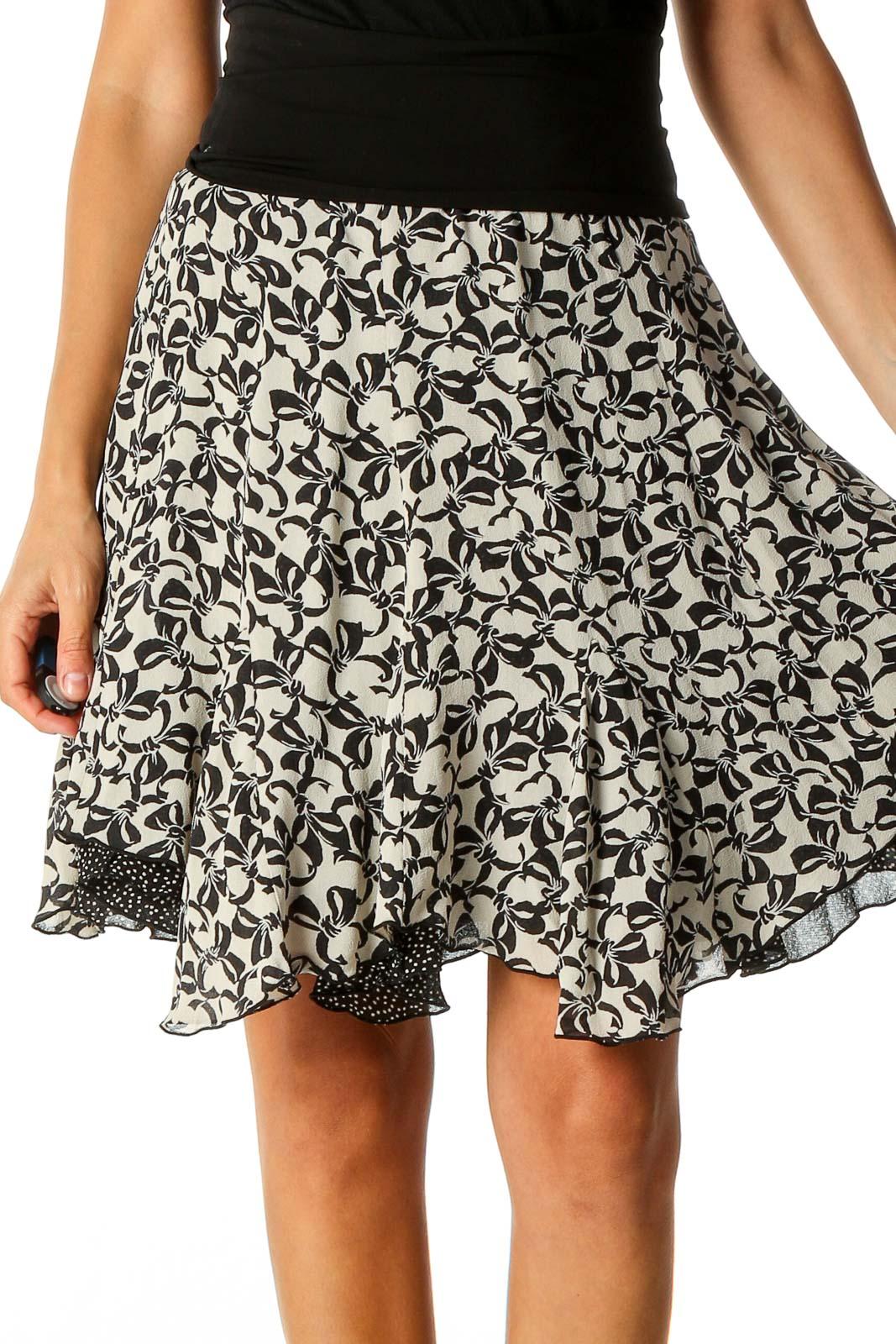 White Printed Brunch Flared Skirt Front