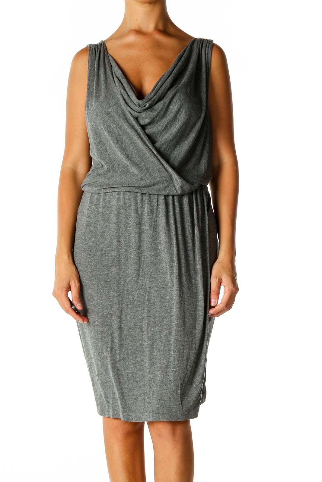 Gray Solid Day Sheath Dress Front
