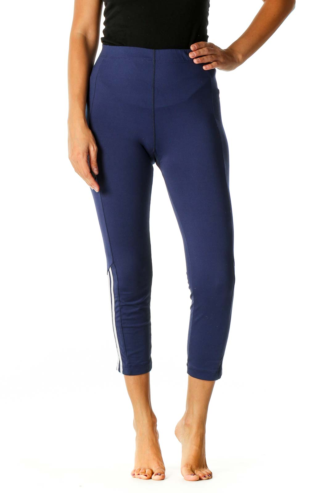 Blue Solid Activewear Leggings Front