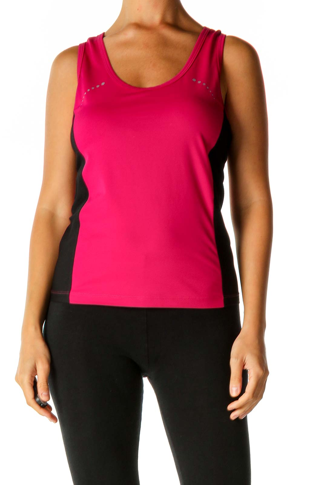 Pink Solid Activewear Tank Top Front