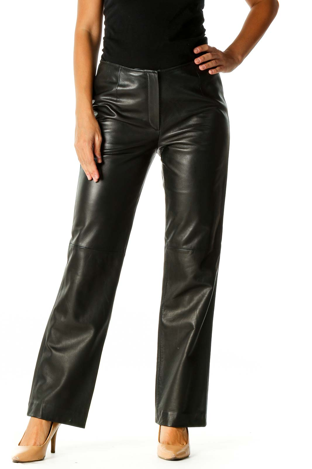 Black Solid Punk Trousers Front