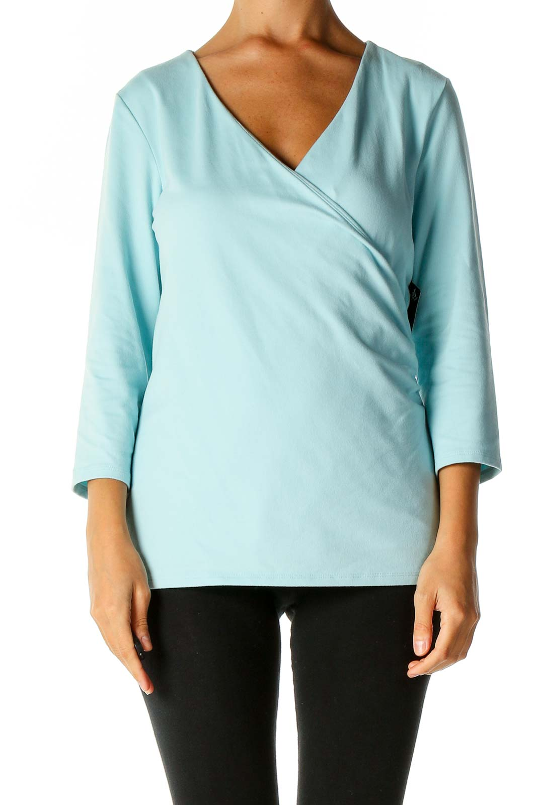 Blue Solid Casual Blouse Front