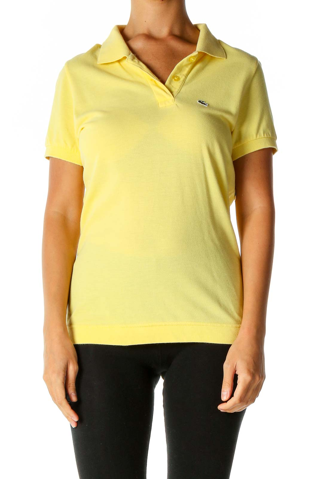 Yellow Solid Casual Polo Shirt Front