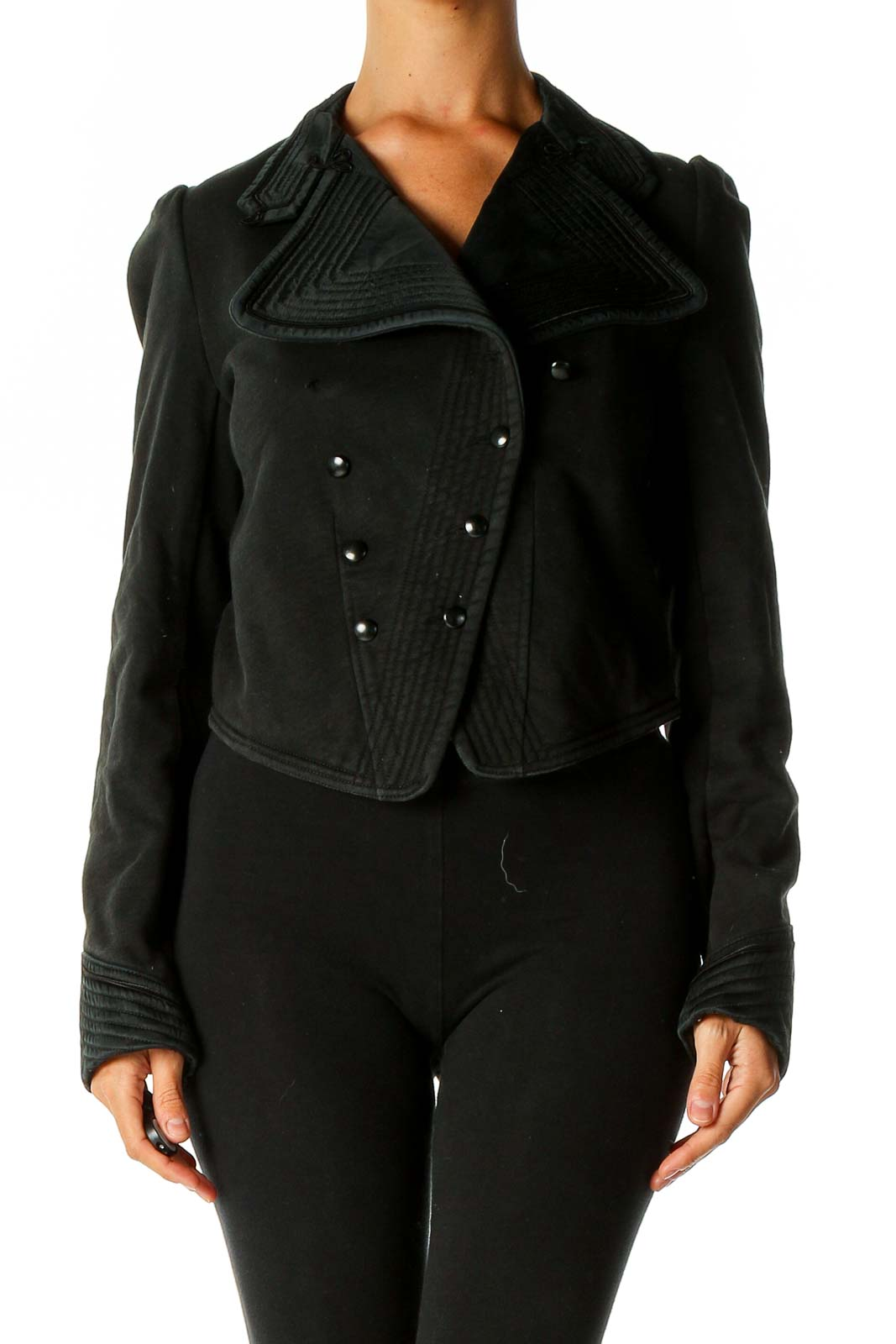 Black Military Jacket Front