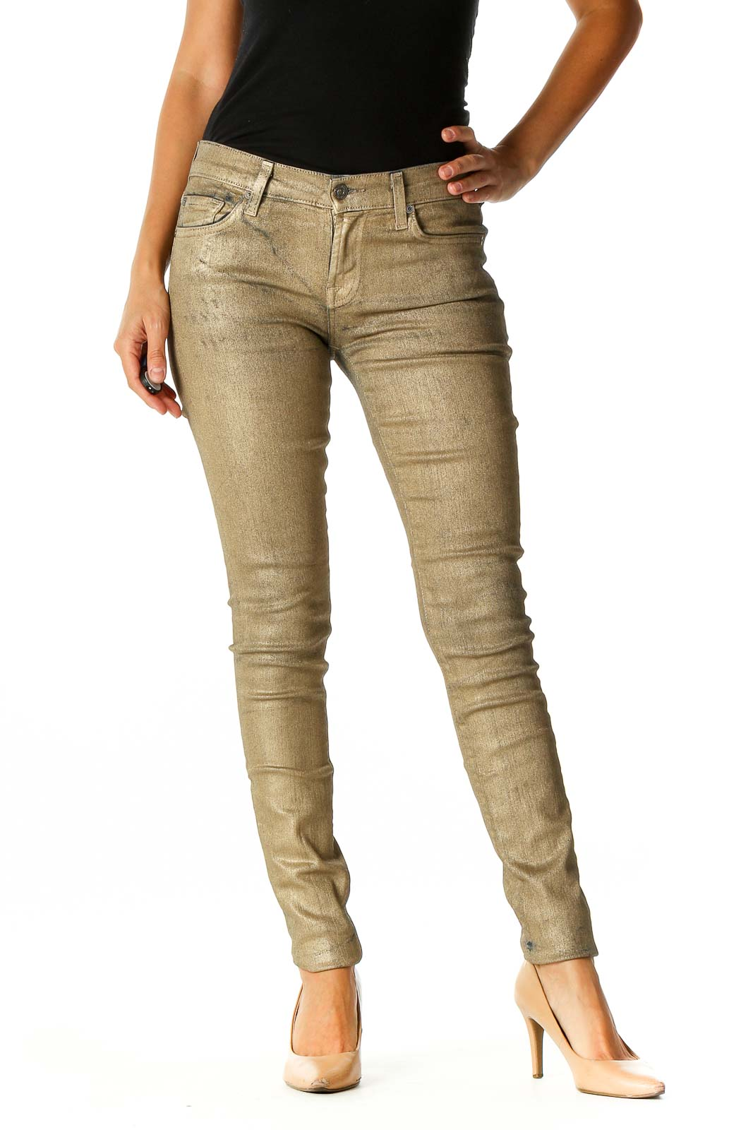 Gold Painted Skinny Jeans Front