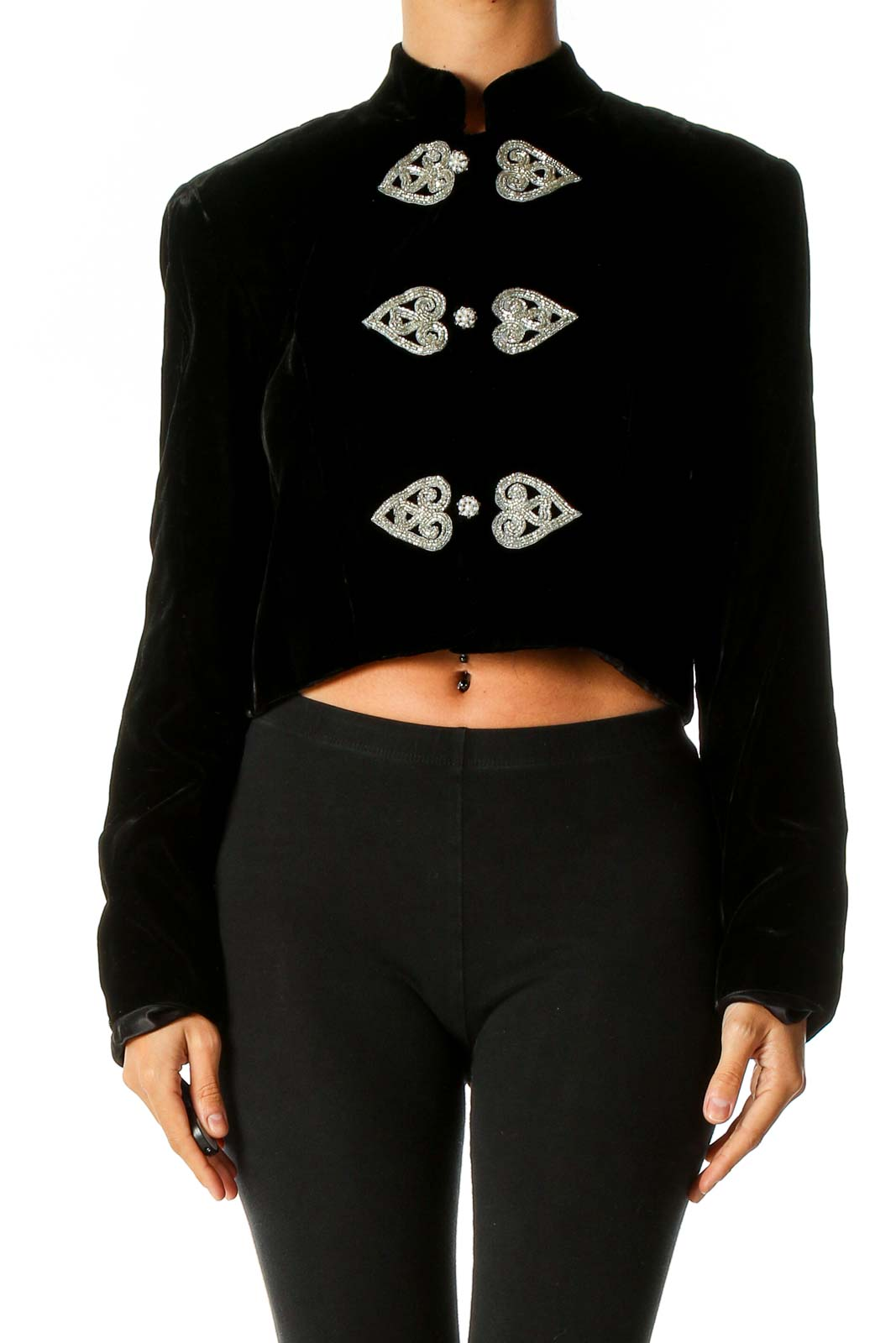 Black Textured Blazer Front