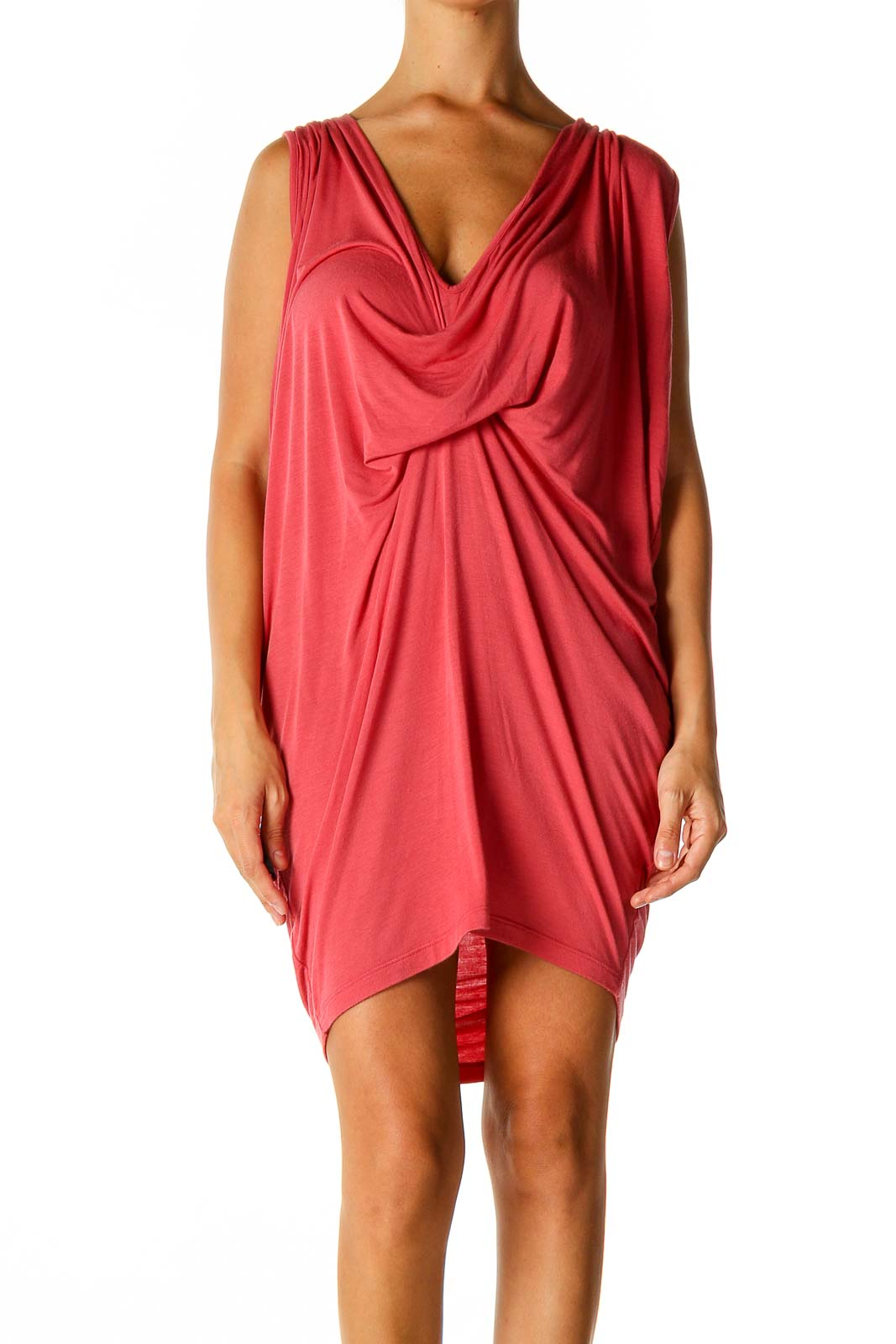 Pink Solid Holiday Sheath Dress Front
