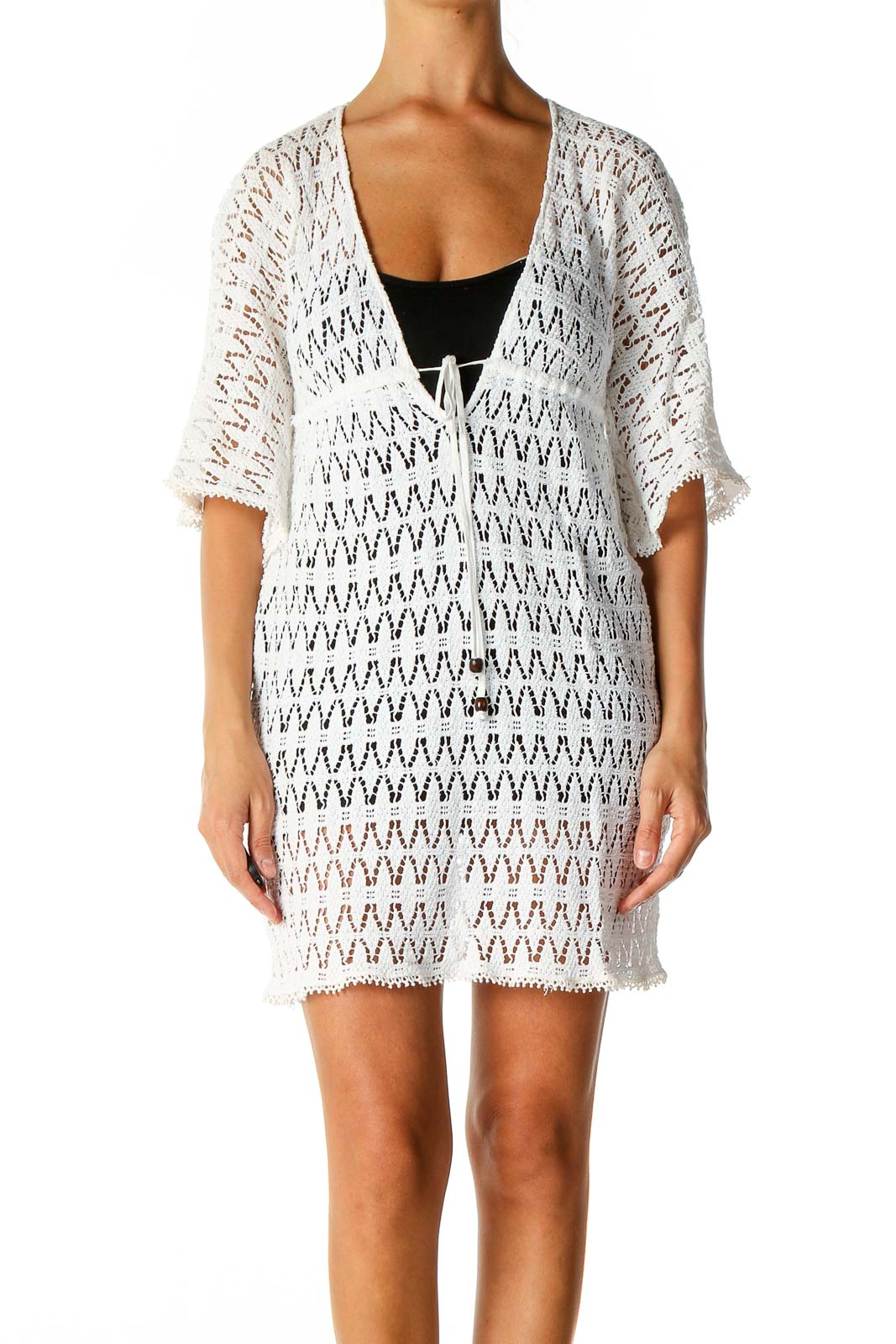 White Textured Coverup Dress Front