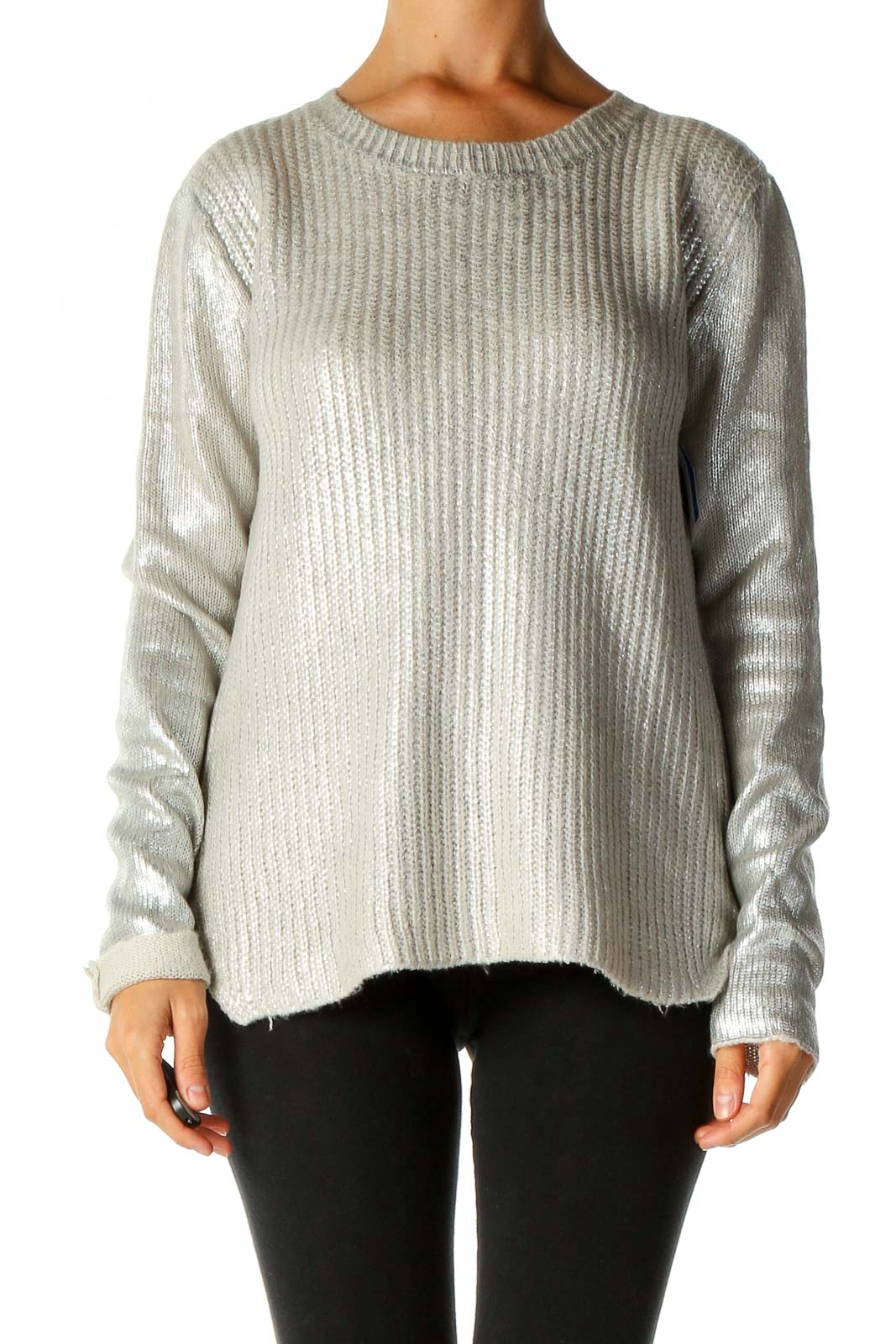 Gray Textured Punk Sweater Front