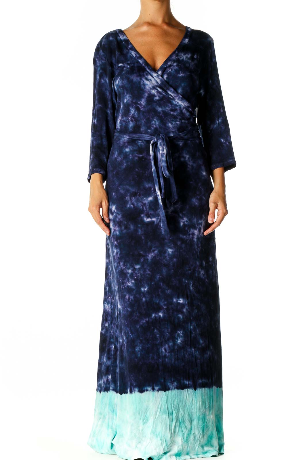 Blue Tie And Dye Column Dress Front