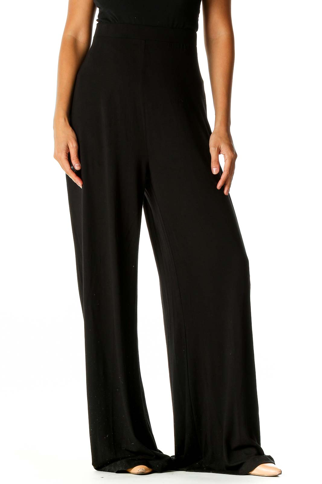 Black Solid Brunch Palazzo Pants Front