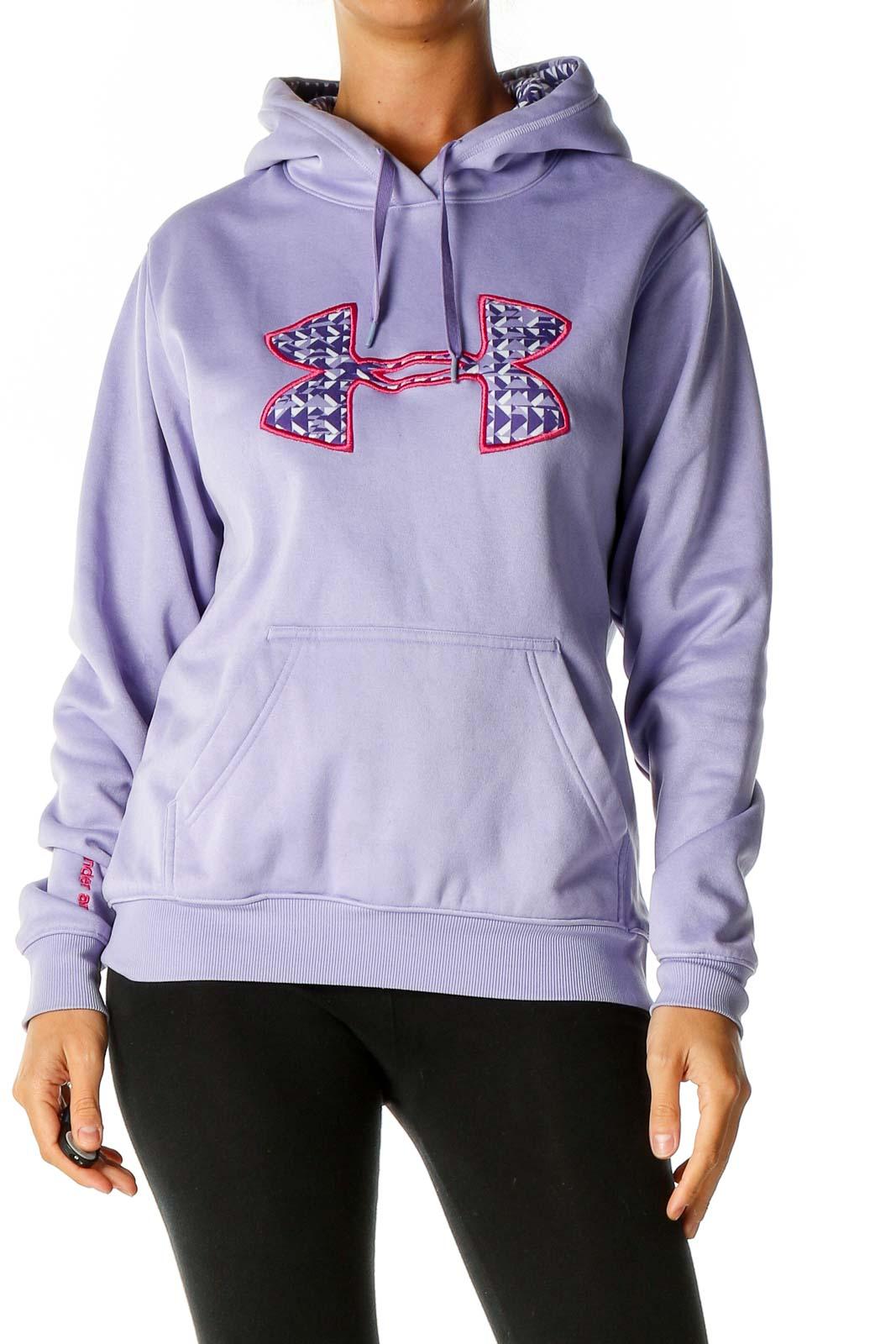 Purple Graphic Print Sweatshirt Front