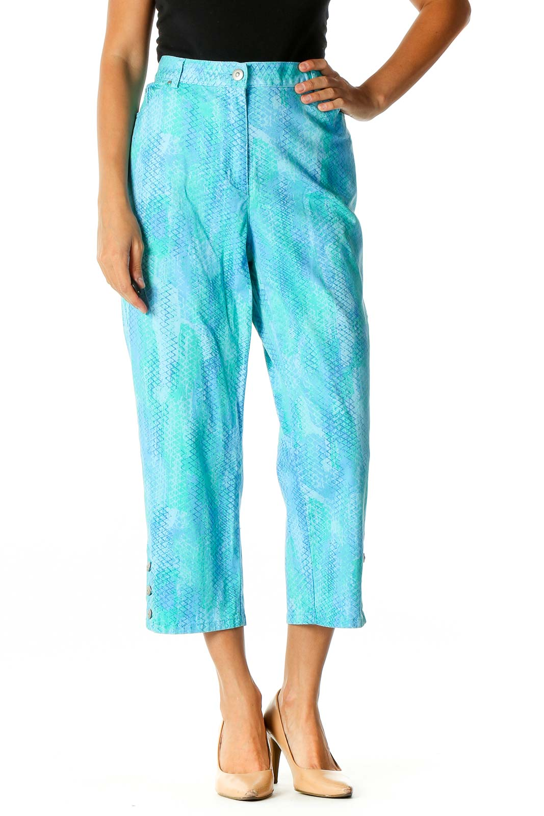 Blue Printed Casual Trousers Front