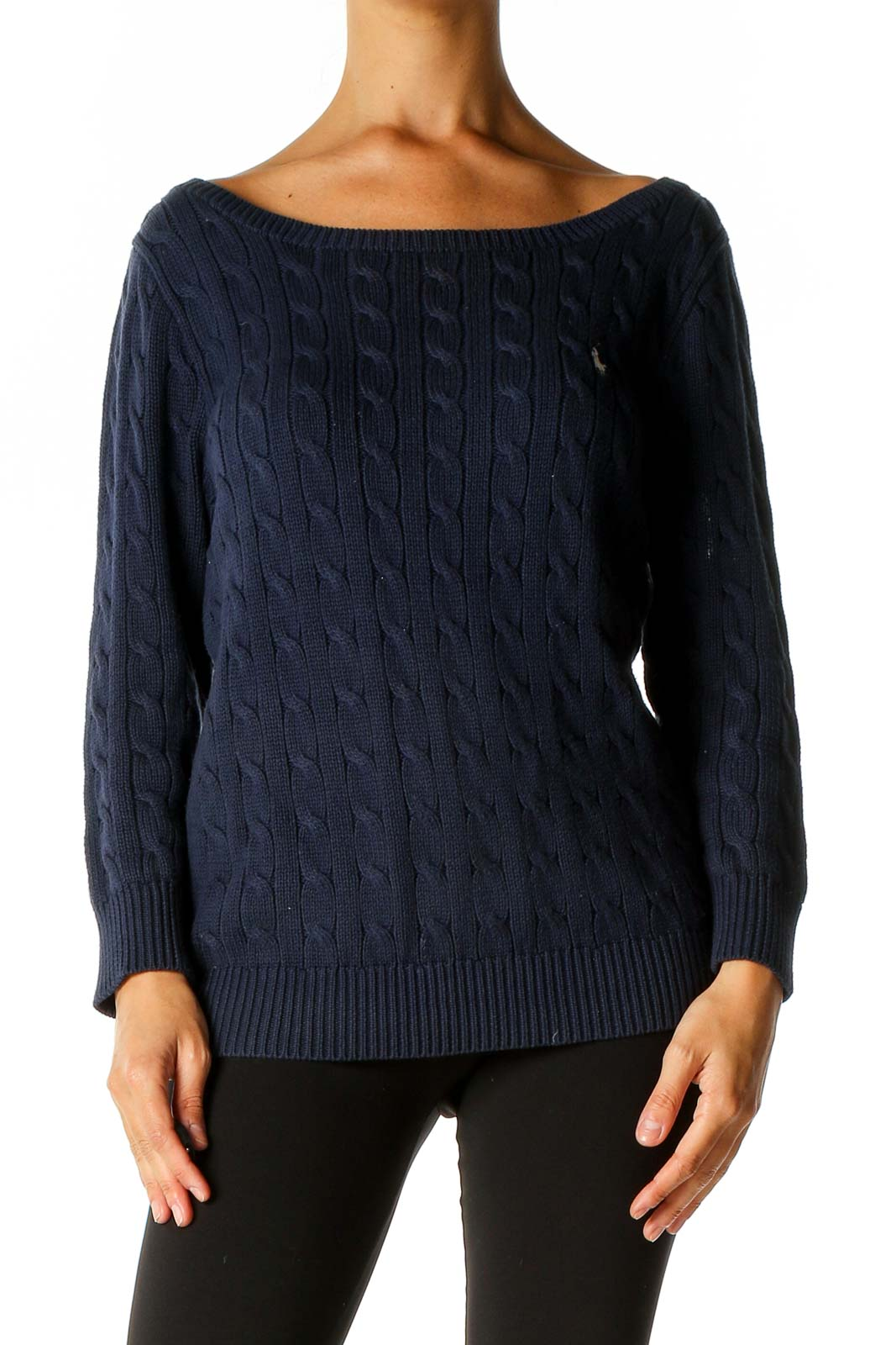 Blue Textured Sweater Front