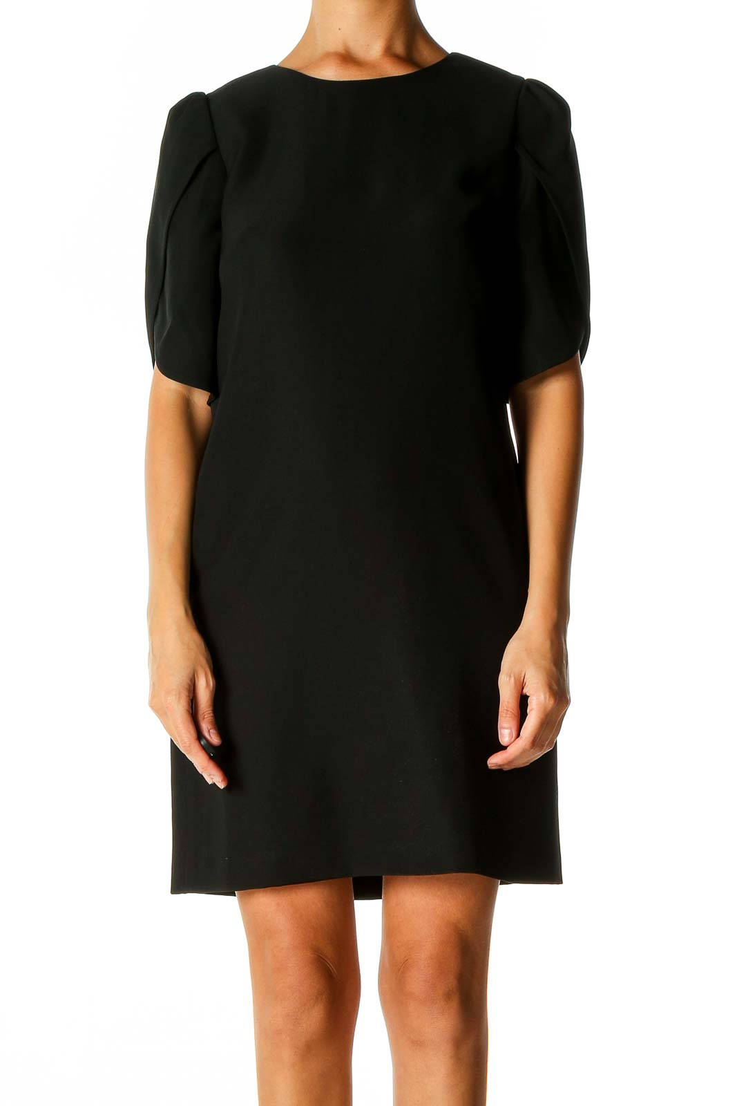 Black Solid Classic Shift Dress Front