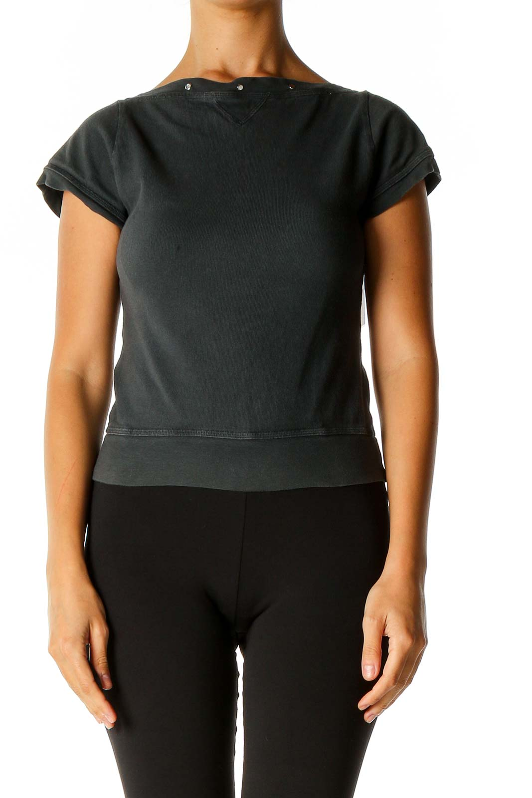 Gray Solid Chic T-Shirt Front