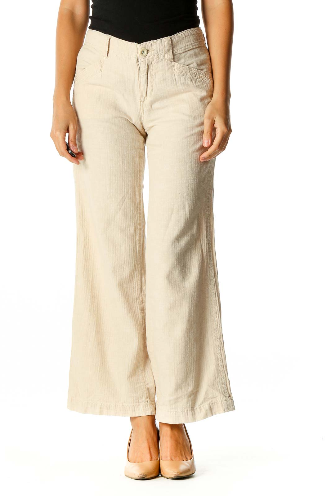 Beige Solid Casual Trousers Front