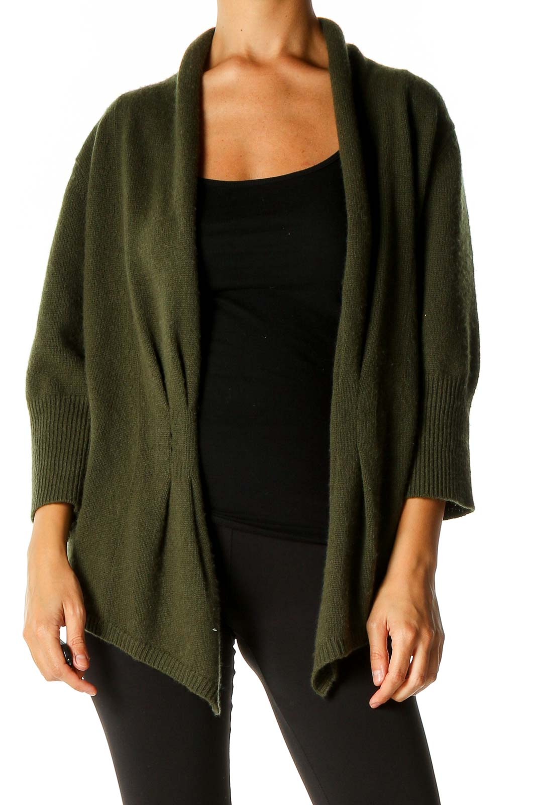 Green Cardigan Front