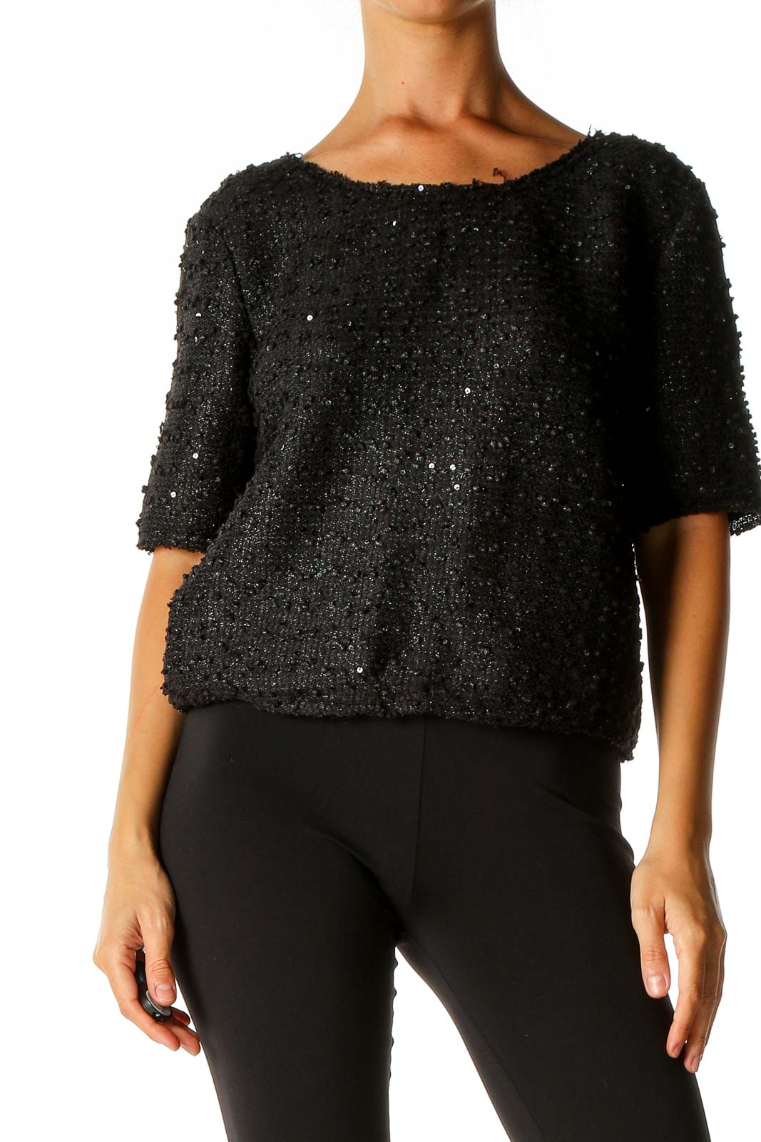 Black Sequin Party Sweater Front