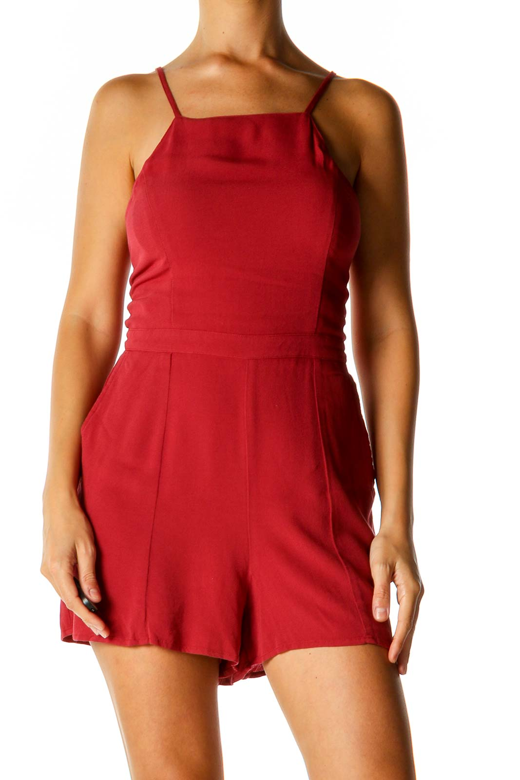 Red Solid Romper Front