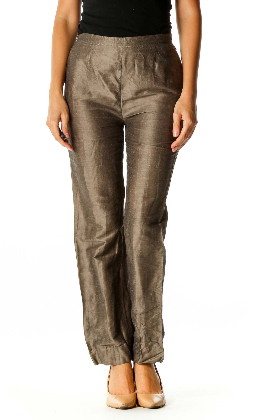 Brown Textured Party Trousers Front