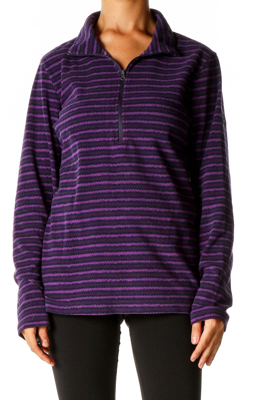Purple Striped Sweatshirt Front