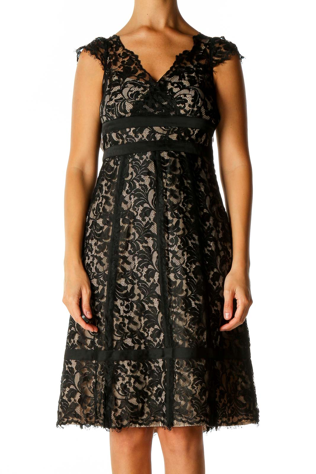 Black Lace Semiformal Fit & Flare Dress Front