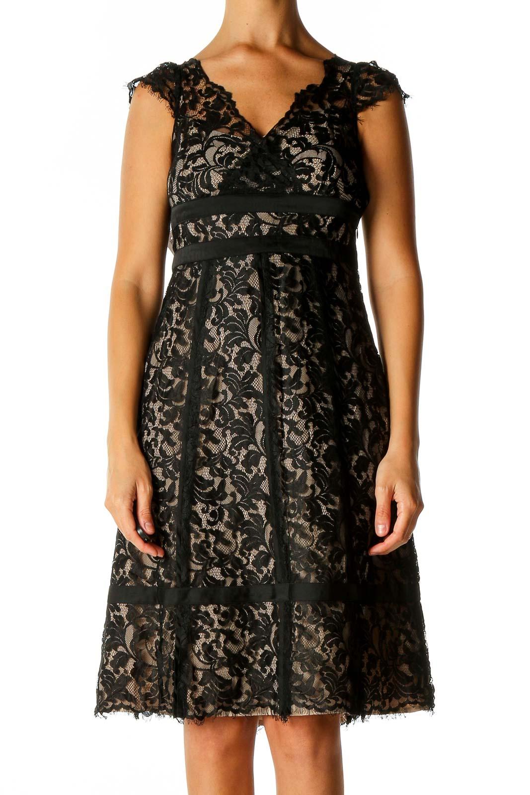Black Lace Semiformal Fit & Flare Dress Front