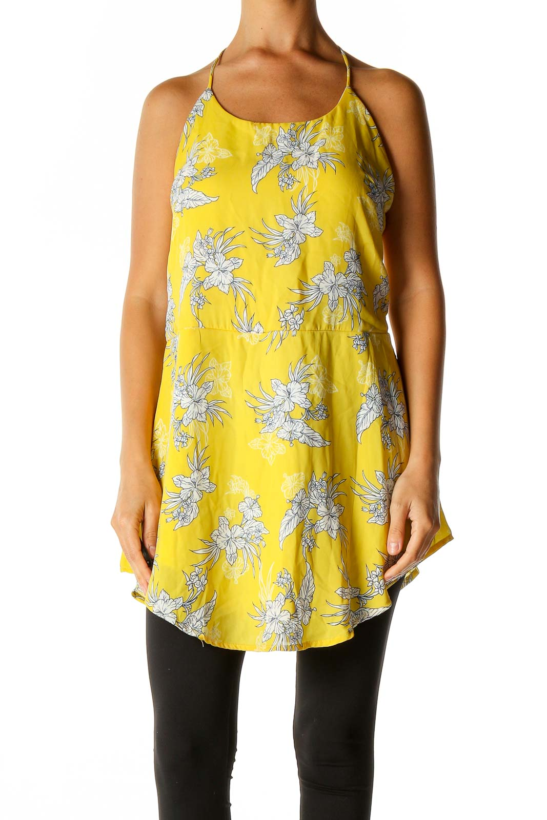 Yellow Floral Print Holiday Blouse Front