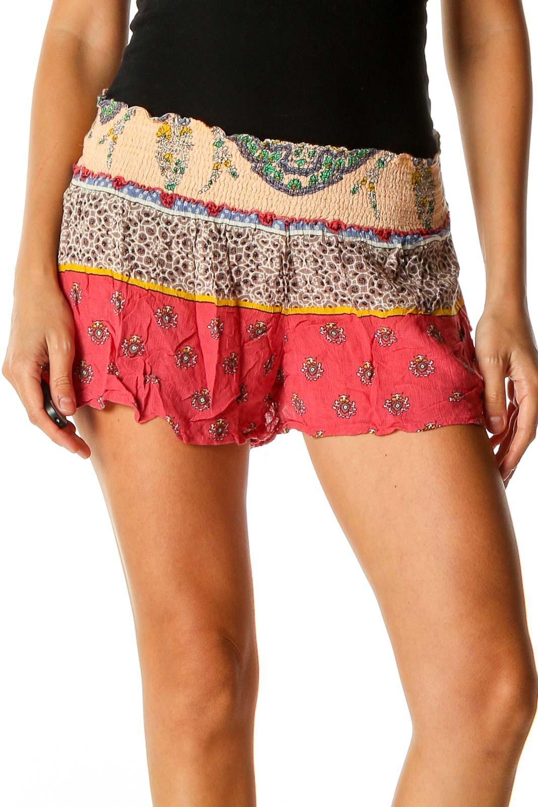 Black Printed Bohemian Shorts Front